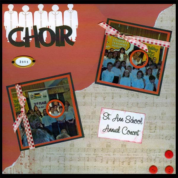 Choir Recitals are perfect for Scrapbooks