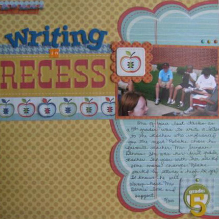 Writing in Recess Layout