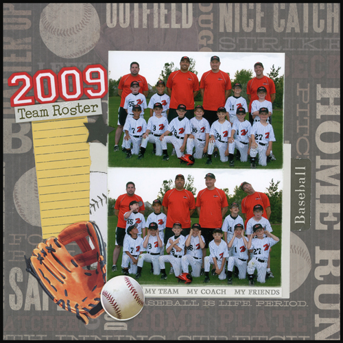 2009 Team Roster Layout