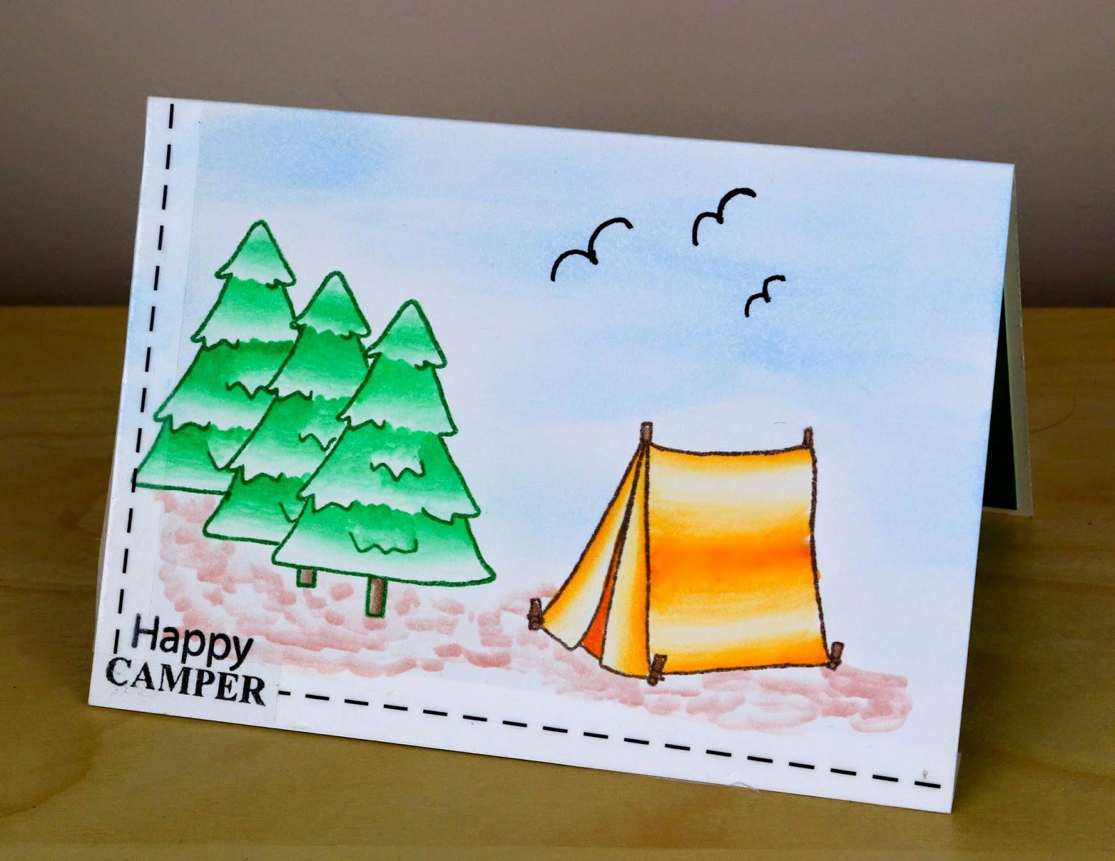 Happy Camper Pop Up Card