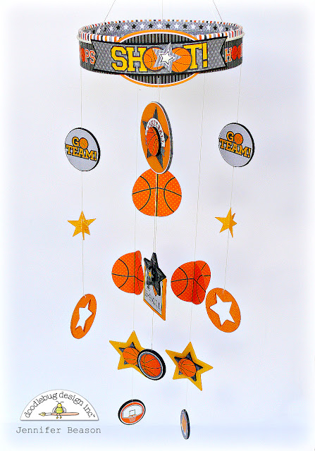Slam Dunk Collection: Basketball Hanging Mobile by Jennifer